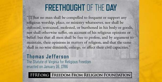 Celebrating anniversary of Thomas Jefferson's famed religious freedom statute
