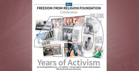40 years of activism section in Freethought Today newspaper