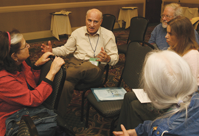 Barry in discussion with convention attendees